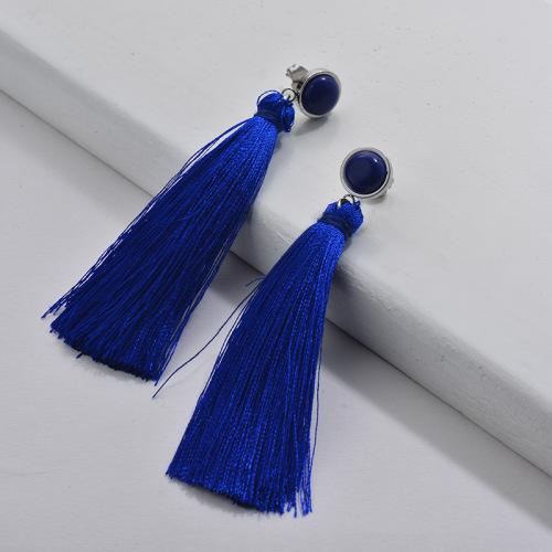 Stainless Steel Tassel Earring Blue Tassel with Gemstone