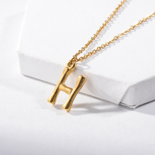 Vintage Gold Plated Letter H Name Pendant Necklace For Women
