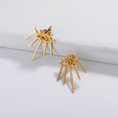 Gold Plated Jewelry Stainless Steel Stud Earring Evil Eyes