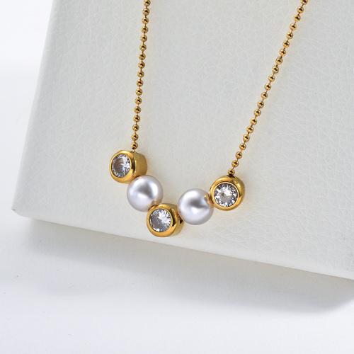 Collar moldeado plateado oro del encanto del circón claro de la perla de la moda para las mujeres