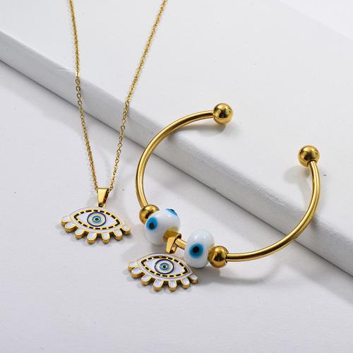 Conjunto de joyas de brazalete de collar de mal de ojo chapado en oro de acero inoxidable al por mayor