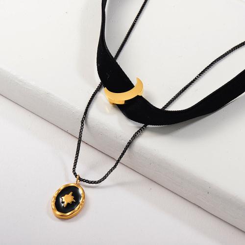 Luna de oro de moda con collar de gargantilla de franela de capa colgante de cruz de esmalte negro