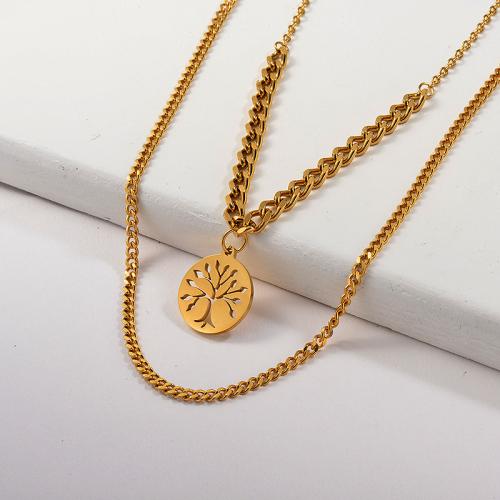 Collar de cadena de eslabones de acera con colgante de árbol de la vida de oro