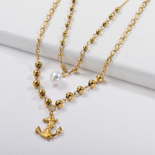 Collar de cadena de eslabones mixtos con colgante de ancla de oro de moda