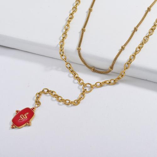 Collier à chaîne en forme de Y avec pendentif rond en émail rouge