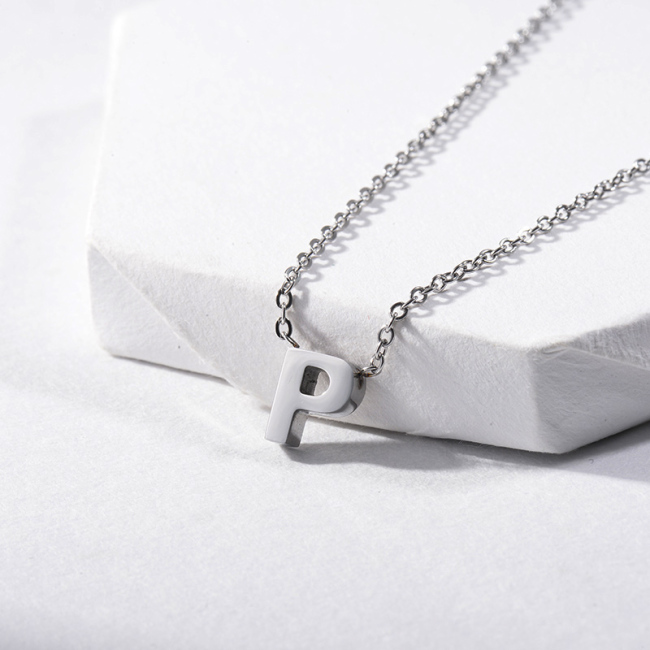 Small Letter P Initial Pendant Necklace