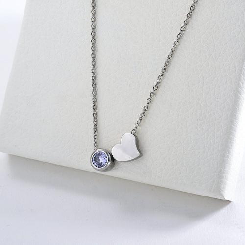 Encanto simple del corazón del acero inoxidable de la plata 316L con el collar del circón para las mujeres