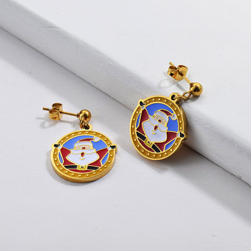 Gold Plating Earrings For Chrismas Gift With Badge of Santa Claus Cute Style