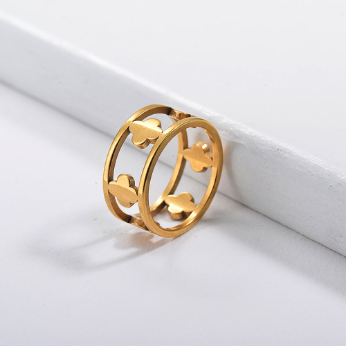 Stainless Steel Famous Brand  Gold Simple Flower Promise Rings For Women