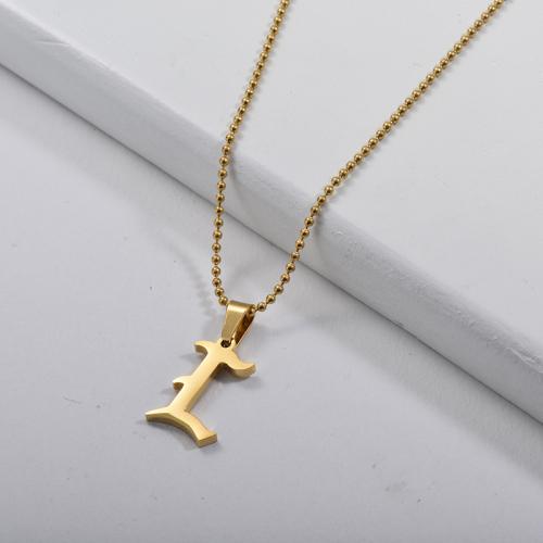 Vente en gros Collier De Perles De Charme Alphabet L De Style Gothique Or
