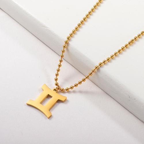 Collar del zodiaco del encanto de la constelación de Géminis del oro de la moda para las novias