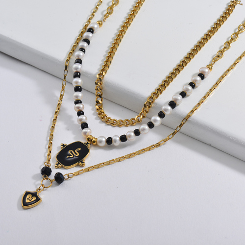 13 Years Old Gift Black Snake Round Pendant Pearl And Beaded Link Chain Layer Necklace
