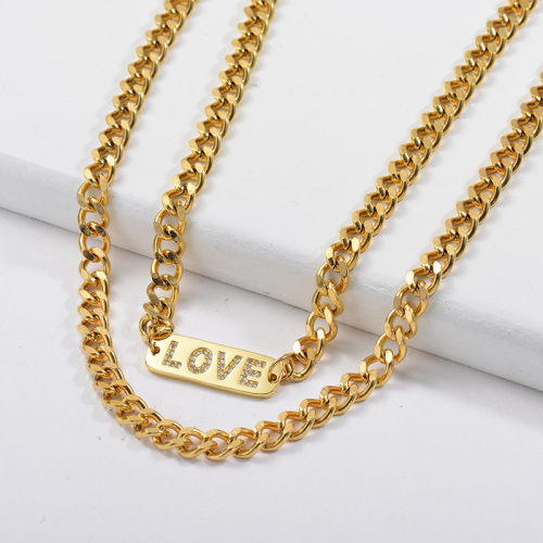 Gold Copper Love Bar Charm Layer Curb Link Chain Necklace