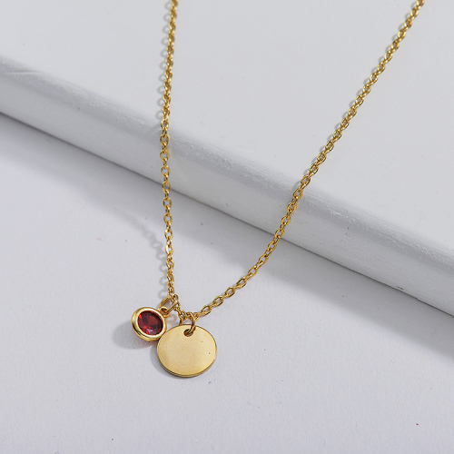 Dainty Gold Stainless Steel Round Charm With Red Zircon Necklace