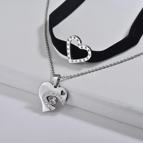 Elegante collar de gargantilla de cadena de capa de franela negra con encanto de corazón de joyería de plata para amantes