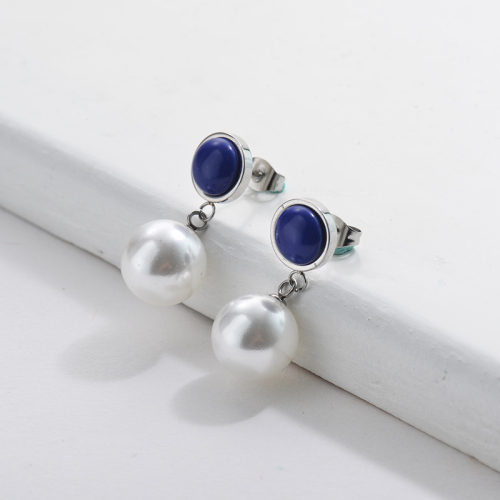 Stainless Steel Pearl Earrings with Blue Gemstone French Style