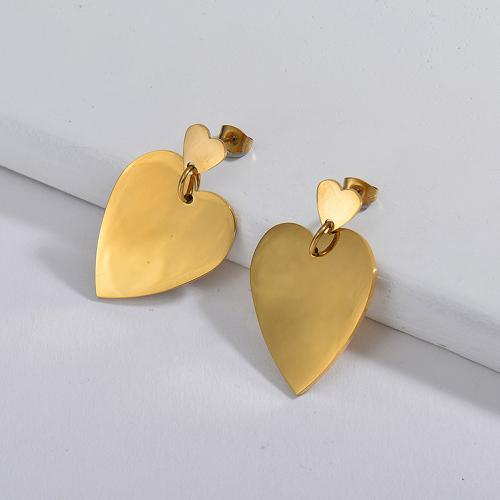 Joyas chapadas en oro Pendientes de corazón grande de acero inoxidable con diseño Siemple