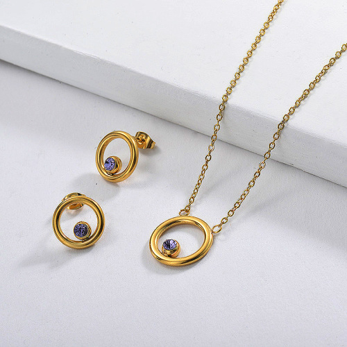 Stainless Steel Gold Plated Purple Zircon Crystal Ring Necklace Earring Set