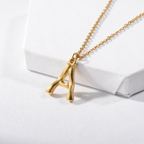 Collar con inicial de alfabeto de oro estilo Hip Hop