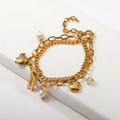 Cuban Link Chain&Rectangle Shape Link Chain Genuine Pearl Charm Bracelet Gold Plated Bracelet