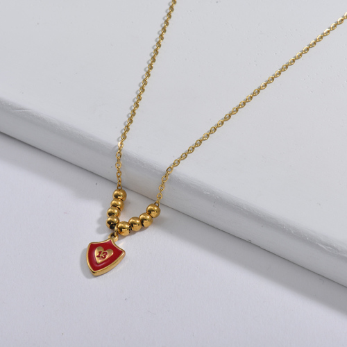 13 Years Old Jewelry Red Enamel Pendant With Gold Balls Necklace