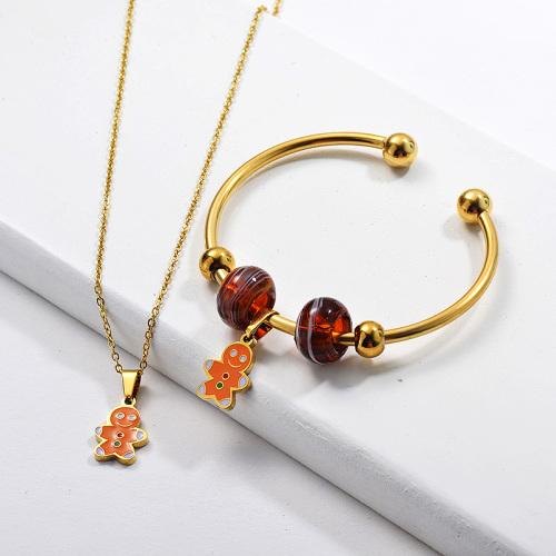 Conjunto de joyas de brazalete de collar de Navidad chapado en oro de acero inoxidable