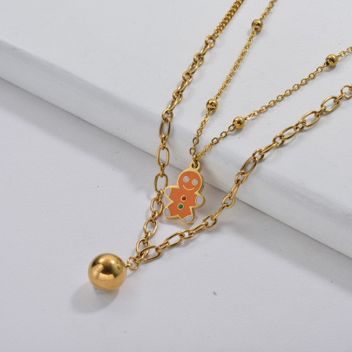Gold Plating Enamel Gingerbread Man Double Chain Necklace For Christmas