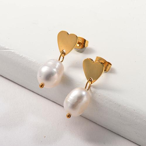 Pendientes de perlas de acero inoxidable con diseño de joyería chapados en oro