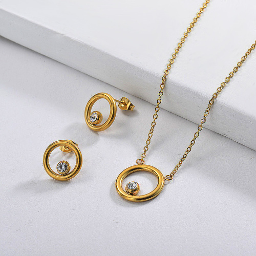 Stainless Steel Gold Plated Zircon Ring Necklace Earring Set
