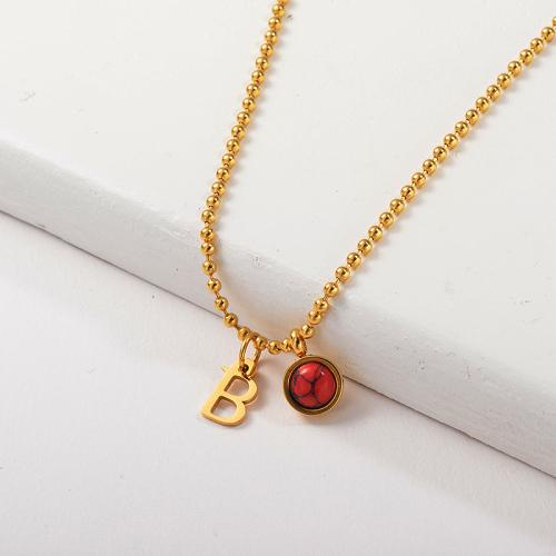 Vente chaude lettre B avec collier de charme de pierres précieuses rouges