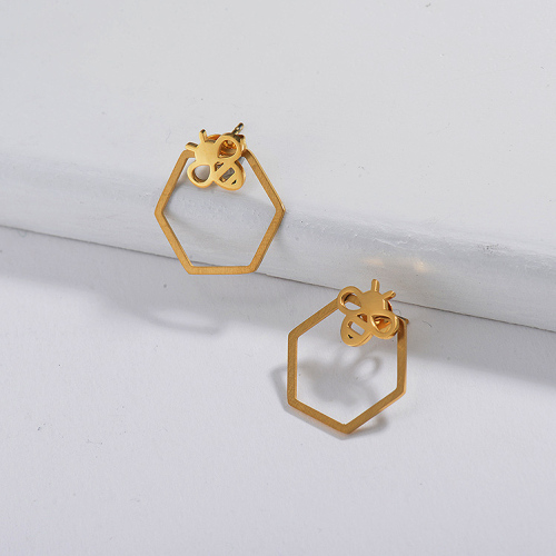 Gold Plated Jewelry  Stainless Steel  Hoop Earrings With BEE Cute Style