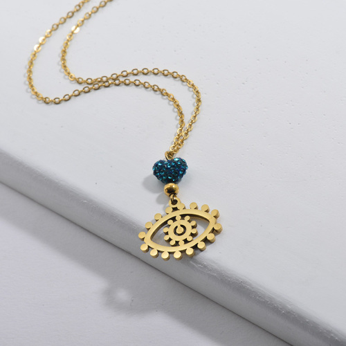 Stainless Steel Gold Evil Eye Round Pendant Necklace With Blue Crystal For Women