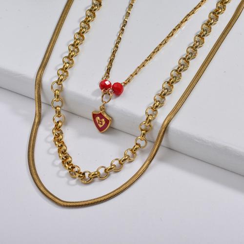 Serpent de déclaration de bijoux de 13 ans avec collier multicouche de chaîne de cercle