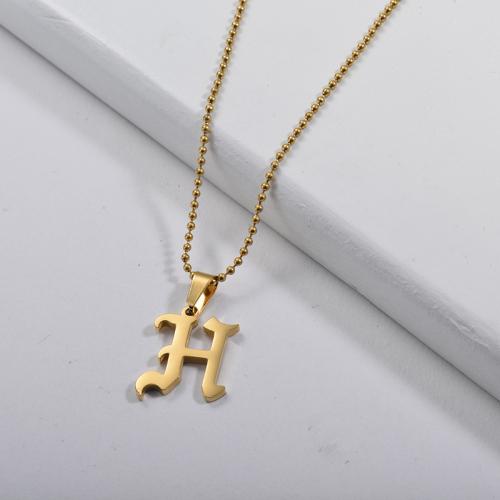 Collier de perles de charme alphabet H de style gothique or personnalisé