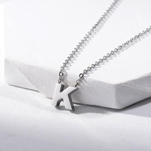 Lindo collar de plata con colgante de alfabeto K con inicial joyería