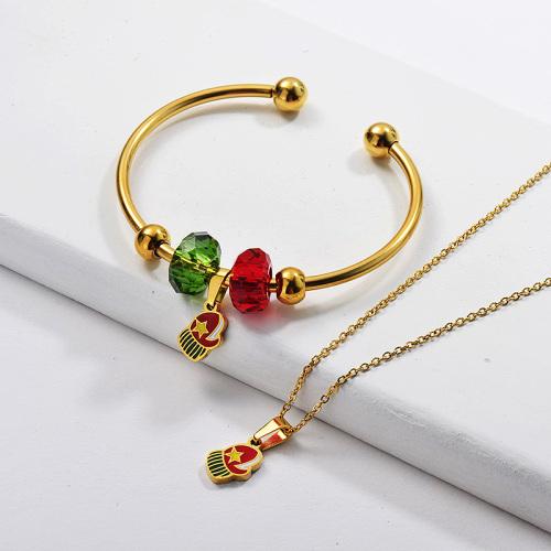 Vente en gros Ensemble de bracelet de collier de gant de Noël plaqué or en acier inoxydable