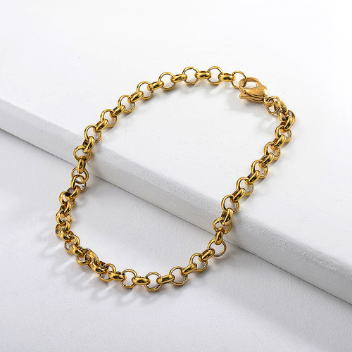 Circle style gold stainless steel bracelet