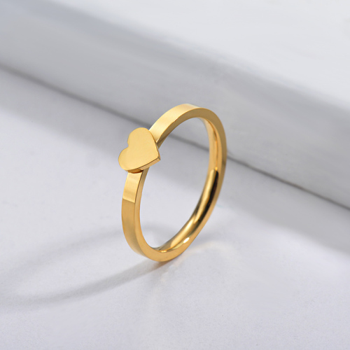 Wholesale Stainless Steel Famous Brand Gold Simple Heart Bridal Ring