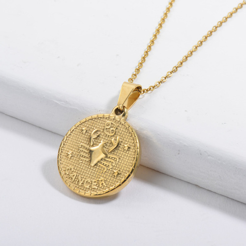 Gold Constellation Cancer Lucky Round Tag Pendant Zodiac Necklace