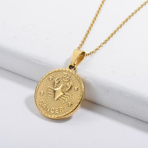 Collar del zodiaco con colgante de etiqueta redonda de la suerte de cáncer de constelación de oro