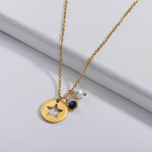 Dainty Gold Stainless Steel Round Star Charm With Blue And Pearl Zircon Necklace