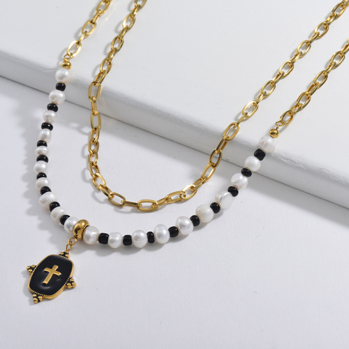 Black Enamel Snake Square Pendant With Pearl And Black Beaded Statement Multilayer Necklace