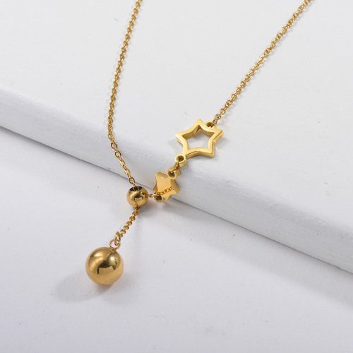 Collier pendentif étoile en or ajustable avec boule