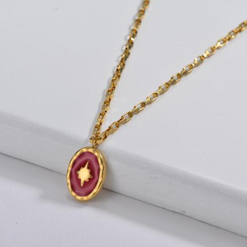 Irregular Red Enamel Oval Star Pendant Beaded Chain Necklace