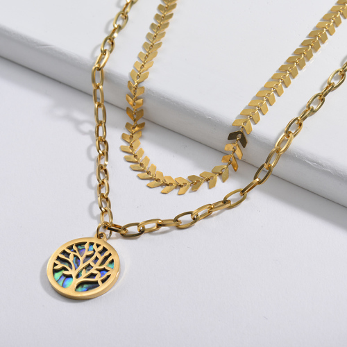 Fashion Gold Tree Of Life With Seashell Round Pendant Leaf Chain Layer Necklace