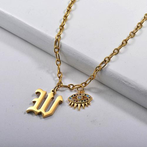 Letra inicial W de estilo gótico dorado con collar de encanto de cobre Evil Eye