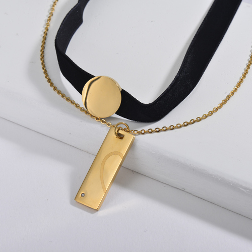 Fashion Gold Round And Bar Charm Black Flannel Layer Chain Choker Necklace