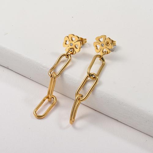 Pendientes de cadena de acero inoxidable con diseño Siemple de joyas chapadas en oro
