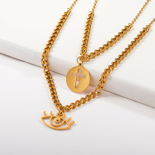 Gold Evil Eye With Cross Round Pendant Layer Chunky Chain Necklace