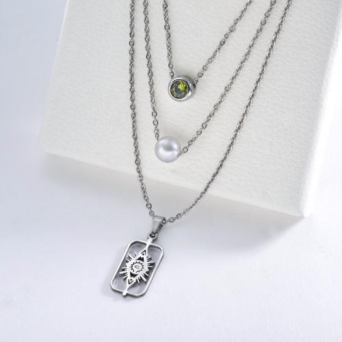 Venta caliente 2020 Evil Eye con collar de plata con dije de circonita verde perla